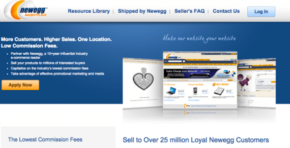 Newegg charges sellers commission rates run from 8 to 15 percent, depending on type of product.