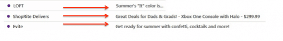 These subject lines from three separate companies all emphasize summer-related themes.