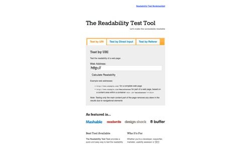 The Readability Test Tool.
