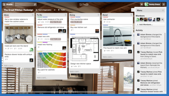 A Trello board, with lists (columns) and cards.
