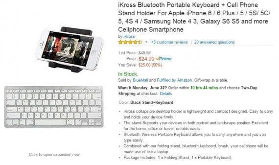 Bluetooth keyboards for smartphones and tablets typically run $60 or more in local stores. Reviews on this $25 one convey that it's a bargain and not a dud. Source: Amazon.