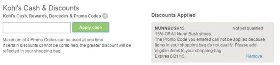 Kohl's explains that the promo code entered can't be used with the items being ordered.