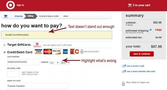 Be sure to use easy-to-understand terms and call attention to the actual problem. Source: Target.com.