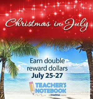 This email offering from Teacher's Notebook, a retailer of teaching supplies, offers double reward dollars in July.