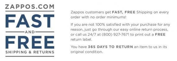 Zappos is able to communicate its return policy in two, very clear paragraphs.
