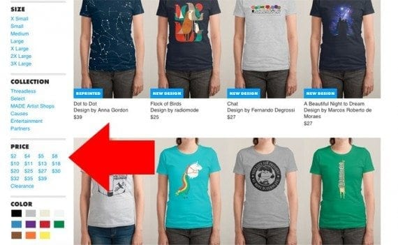 Threadless includes products variations as filters on category page navigation.
