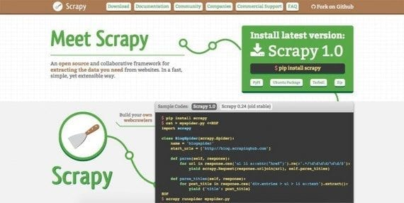 Scrapy is an application framework for creating web spiders.