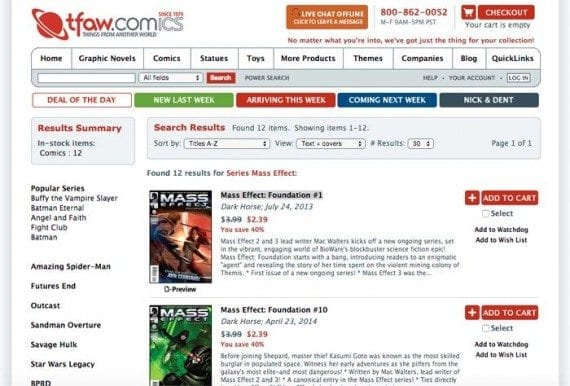 The spider will start crawling on one of TFAW's product category pages.