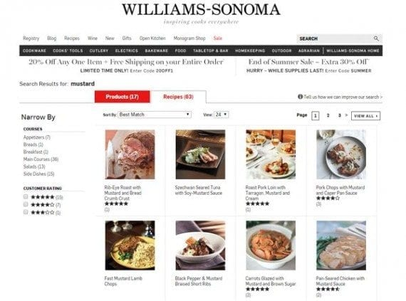 Williams-Sonoma has 63 mustard-related recipes that could be mixed and matched for National Mustard Day content.