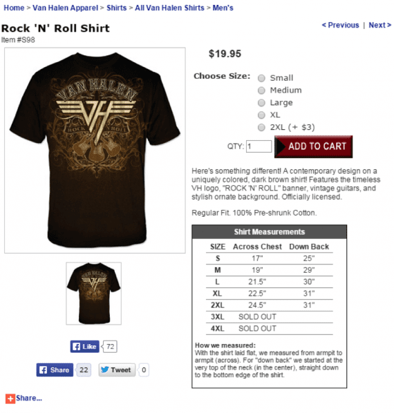 Van Halen Store's product pages are simplified, and include the full size chart right on the product page.