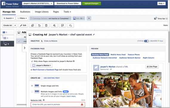 Facebook's Power Editor allows you to edit Facebook ads at scale.