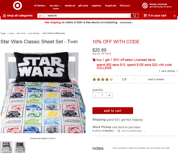 "Target.com hypes any deals right on each product's page. This includes buy-one-get-one sales, coupon discounts, and themed sales. Also included is a shipping message under ""add to cart."""