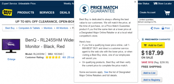 Best Buy reminds shoppers that it matches prices of other retailers.