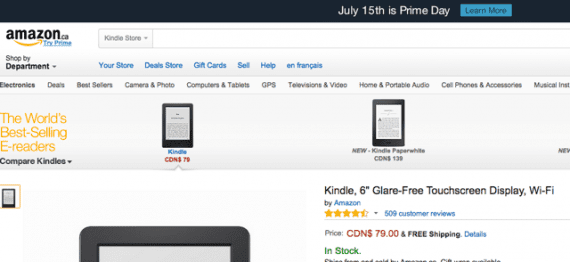 Amazon.ca offers 58 million items, well below the 266 million offerings on Amazon.com.