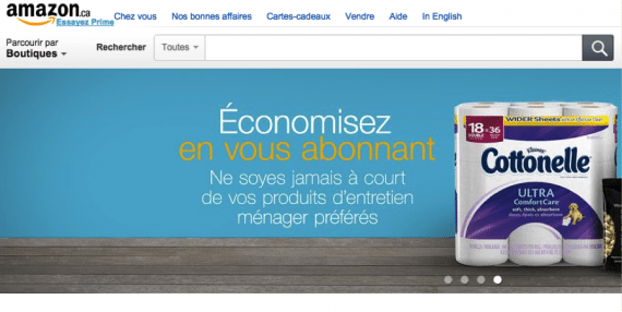 Amazon's Canada site for French-speaking consumers.