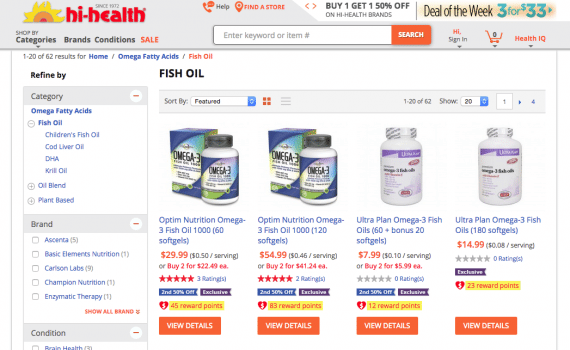 The Fish Oil page within the Omega Fatty Acids category could benefit from using a title tag with the keywords up front.