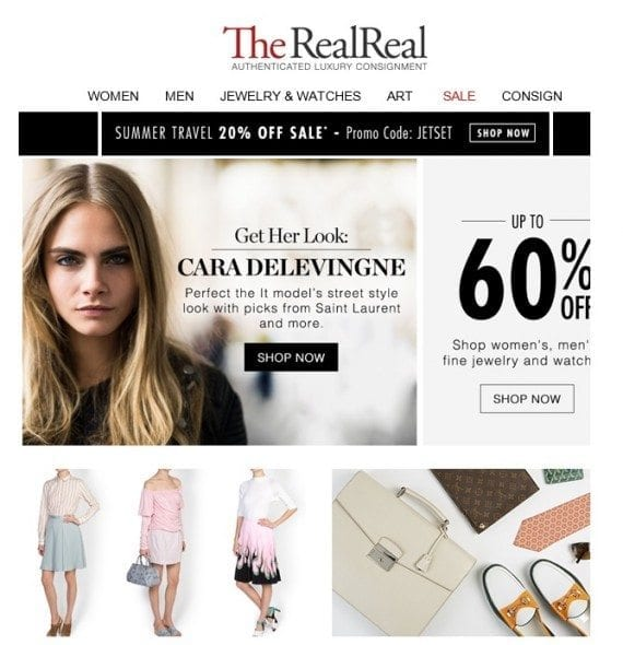 The RealReal, a consignment retailer, sends roughly five emails a week to its subscribers, a comfortable frequency that is not overbearing.