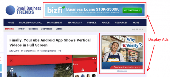Small Business Trends publishes display ads on its website.