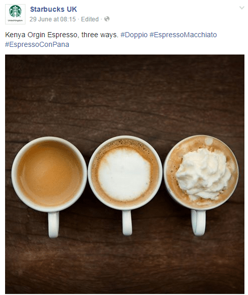 This photo from Starbucks U.K. shows different ways to use espresso.