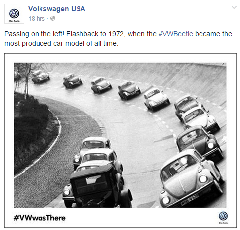 Volkswagen emphasizes its long history in this photo.