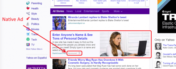 "This Yahoo native ad — ""Enter Anyone's Name & See Tons of Personal Details"" — looks like a news article."