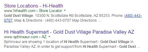 Google search result for Hi-Health's Gold Dust Village location