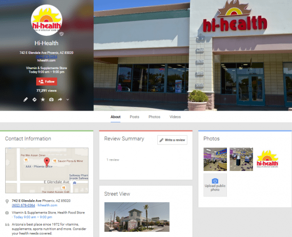 Google+ page for Hi-Health's Glendale Avenue location.