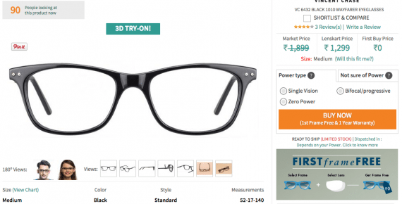 Using a naked image as the primary photo, and gender-specific ones as alternatives, makes the message clear: anyone can wear these glasses. <em>Source: Lenskart.com.</em>