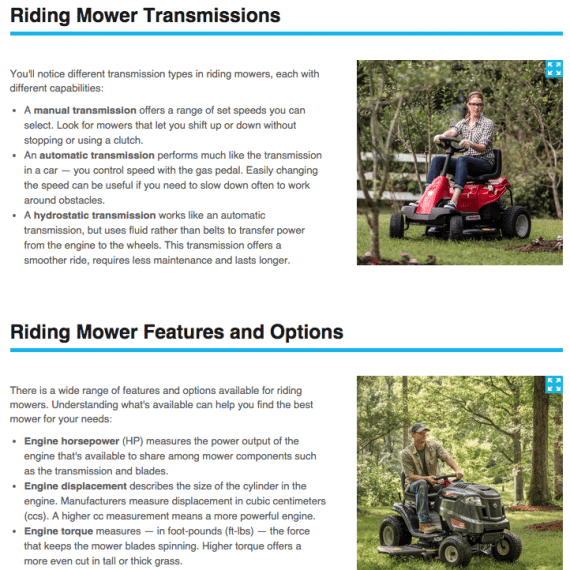 Lowe's uses images to make the message clear: both men and women can operate riding lawn mowers.