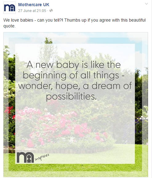 Mothercare, a U.K. retailer of maternity and child clothing, uses a custom template for inspiring quotes.