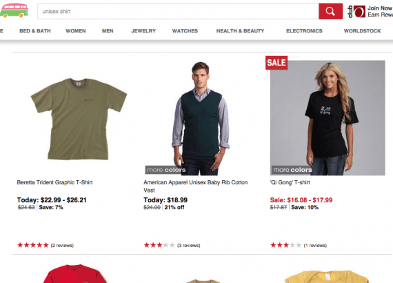 Using the AND operator on search makes it easy for those searching for unisex items to see only what is applicable. Source: Overstock.com.