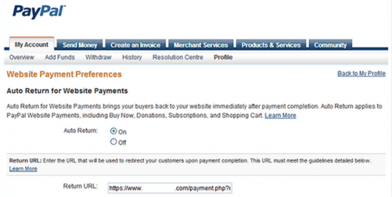 PayPal Auto Return for website payments.