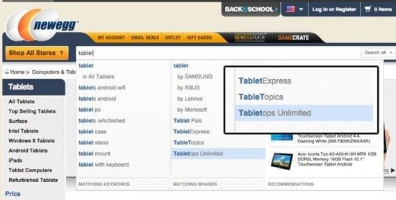 The search function on Newegg shows you what it is thinking and why some suggestions were chosen.