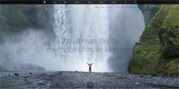 The landing page for the iMac with Retina display starts out similar to other pages on Apple.com.