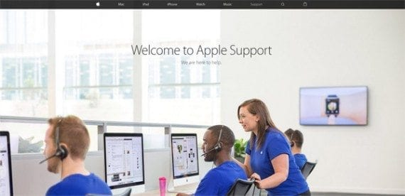 The Apple.com support page as navigation, one picture, and a short welcome message above the fold. To reach the meaty content, you must scroll.