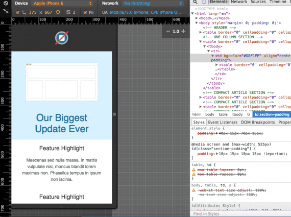 The emulator in Google Chrome's developer tools shows you how the template would look on various devices.