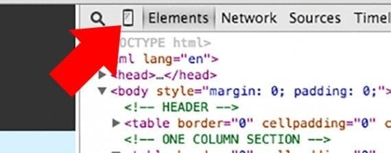 Chrome's mobile emulation icon is in the upper left of the developer tools panel.