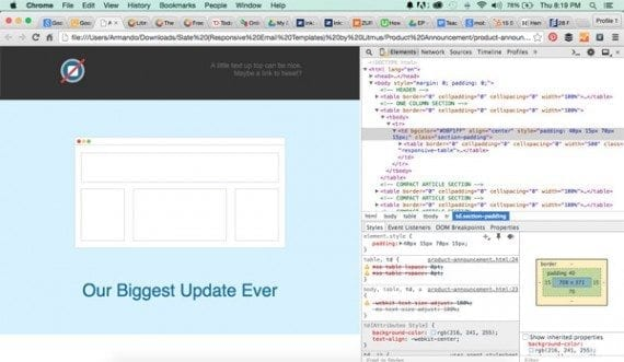 Chrome's developer tools can help you dissect responsive email templates.