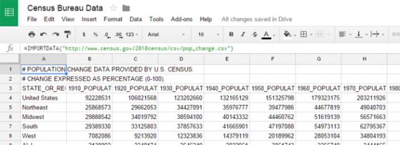 Pulling in data from a CSV or TSV file is easy with IMPORTDATA.