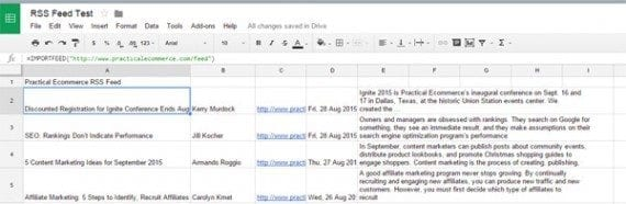Google Sheets can act like an RSS reader, gathering all of the articles from a feed.