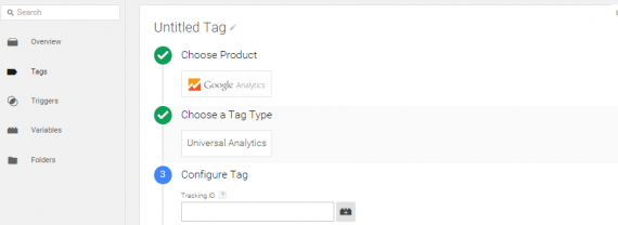 The tag type in the HTML container must be Universal Analytics.