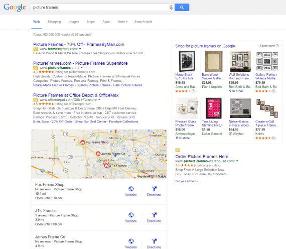 "A personalized Google search result for ""picture frames."""