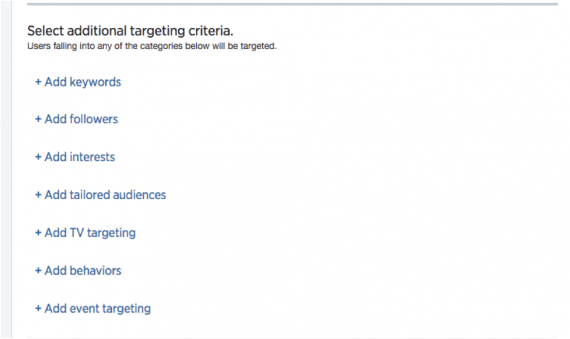 Additional targeting options.