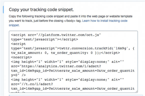 Copy and paste the tracking code snippet to each page of your website.