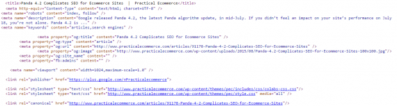 Example metadata from a recent Practical Ecommerce article.