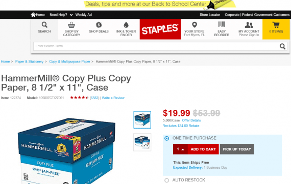 Staples displays different pricing based on one's location.