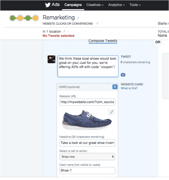 Compose tweets for use in the campaign.