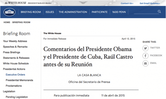 The White House Spanish site lacks full translation, a bad practice.