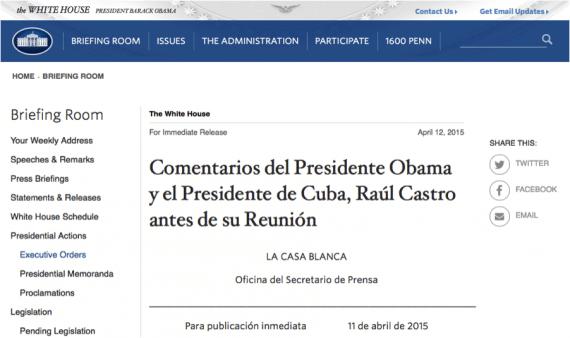 The White House Spanish site lacks full translation, a bad practice.
