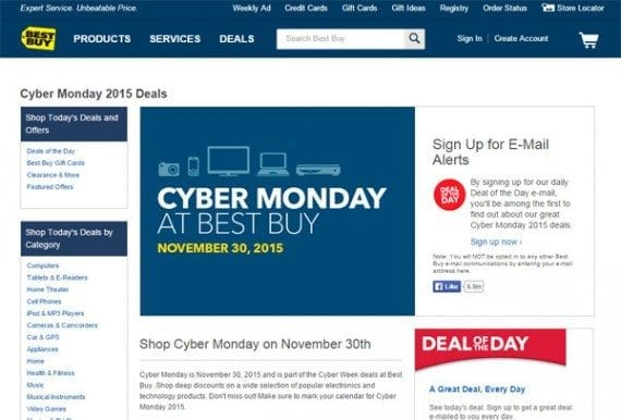 Best Buy is also building a Cyber Monday email list now.
